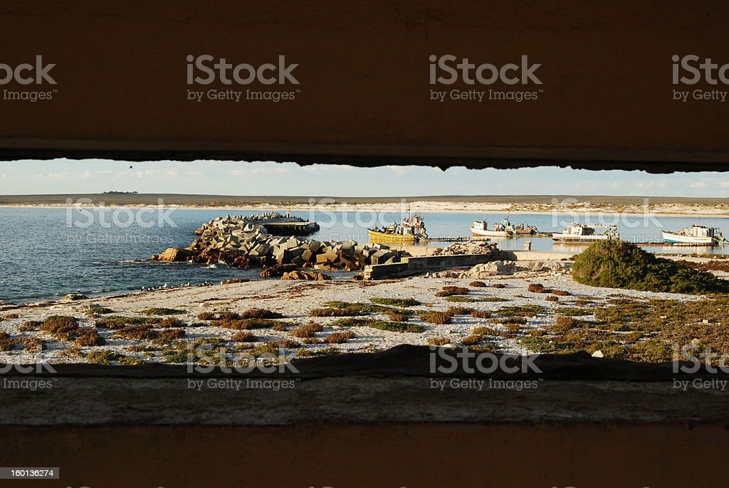 Small boats harbour stock photo