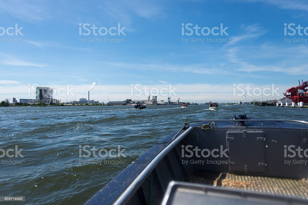 Small boats in the big harbour stock photo
