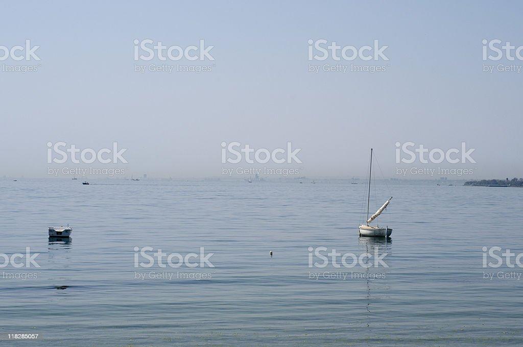 Small boats moored on sea, summer, Turkey, Istanbul royalty-free stock photo