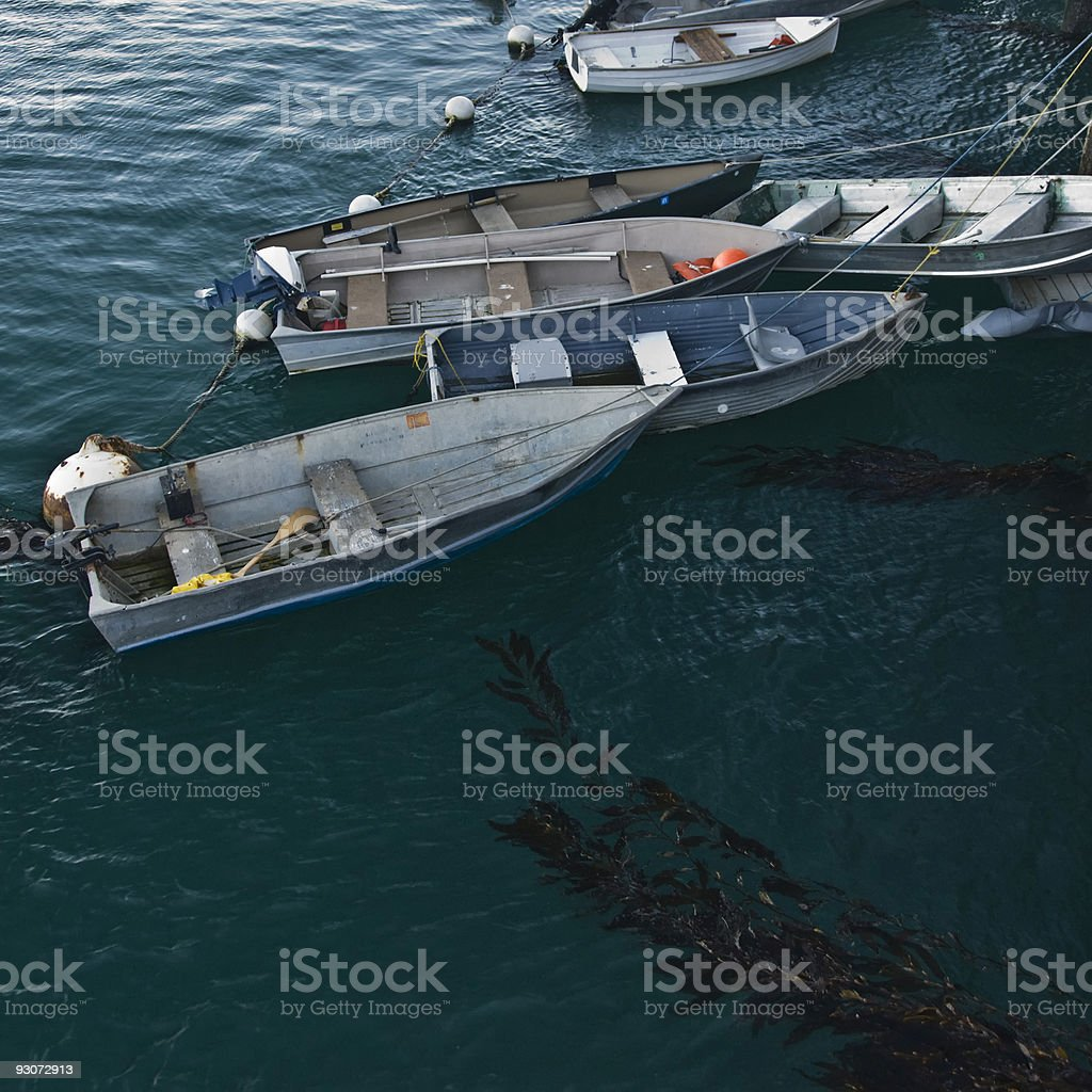 Small Boats Tied to a Pier royalty-free stock photo
