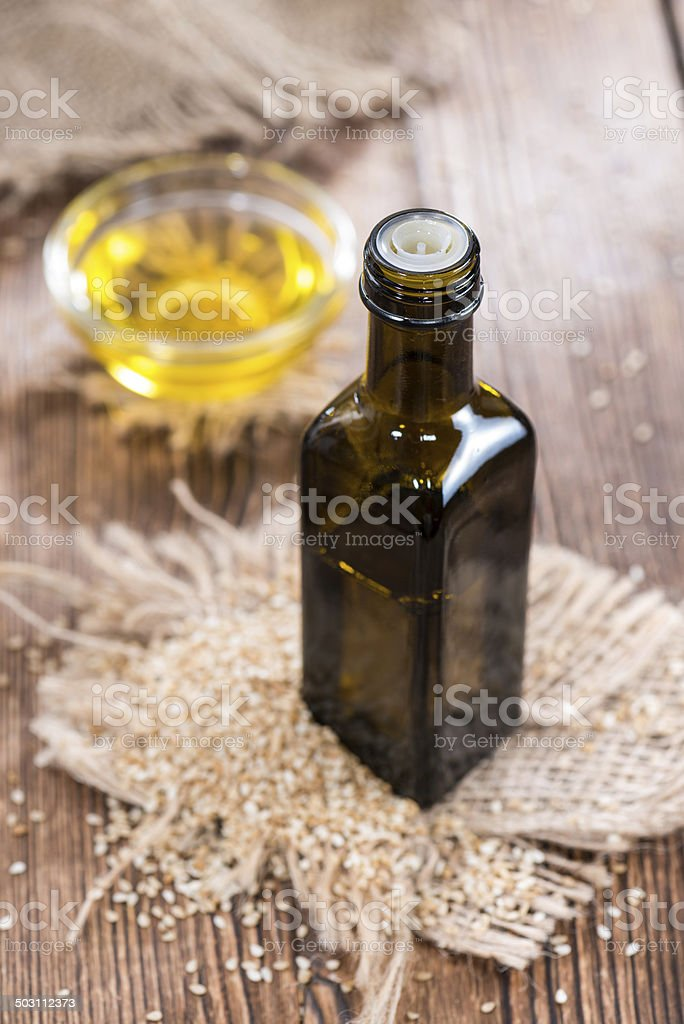 Small bottle with Sesame Oil stock photo
