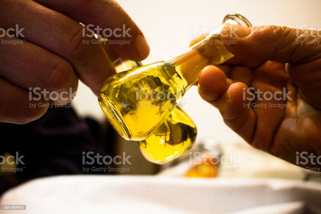 Small bottles with brandy stock photo