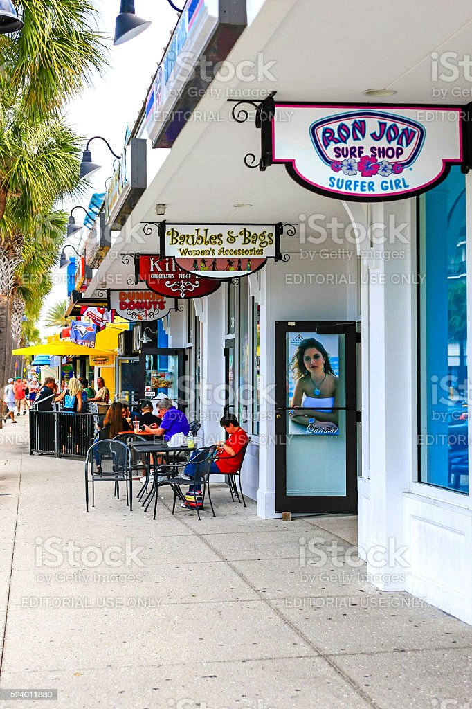 Small boutique cafe's and stores near Clearwater beach in Florida stock photo
