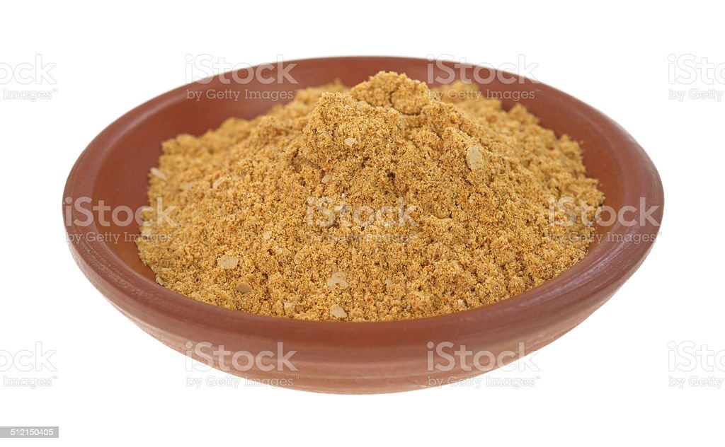 Small bowl filled with taco seasoning stock photo