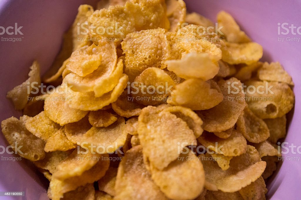 Small Bowl of Cornflake Cereal Close-up royalty-free stock photo