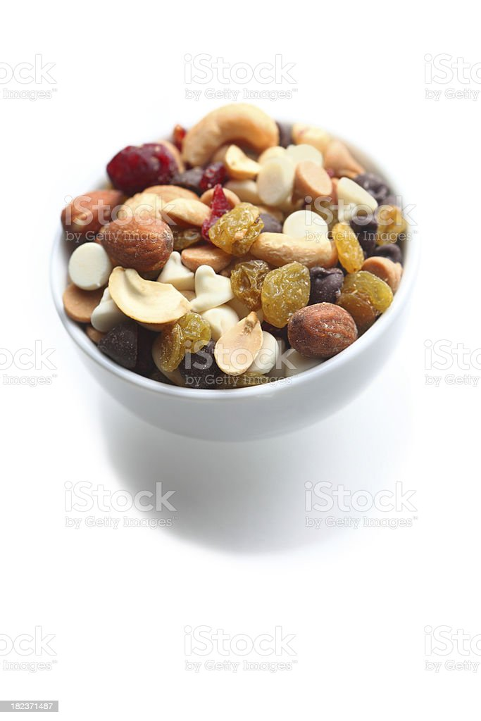 Small bowl of trail mix stock photo