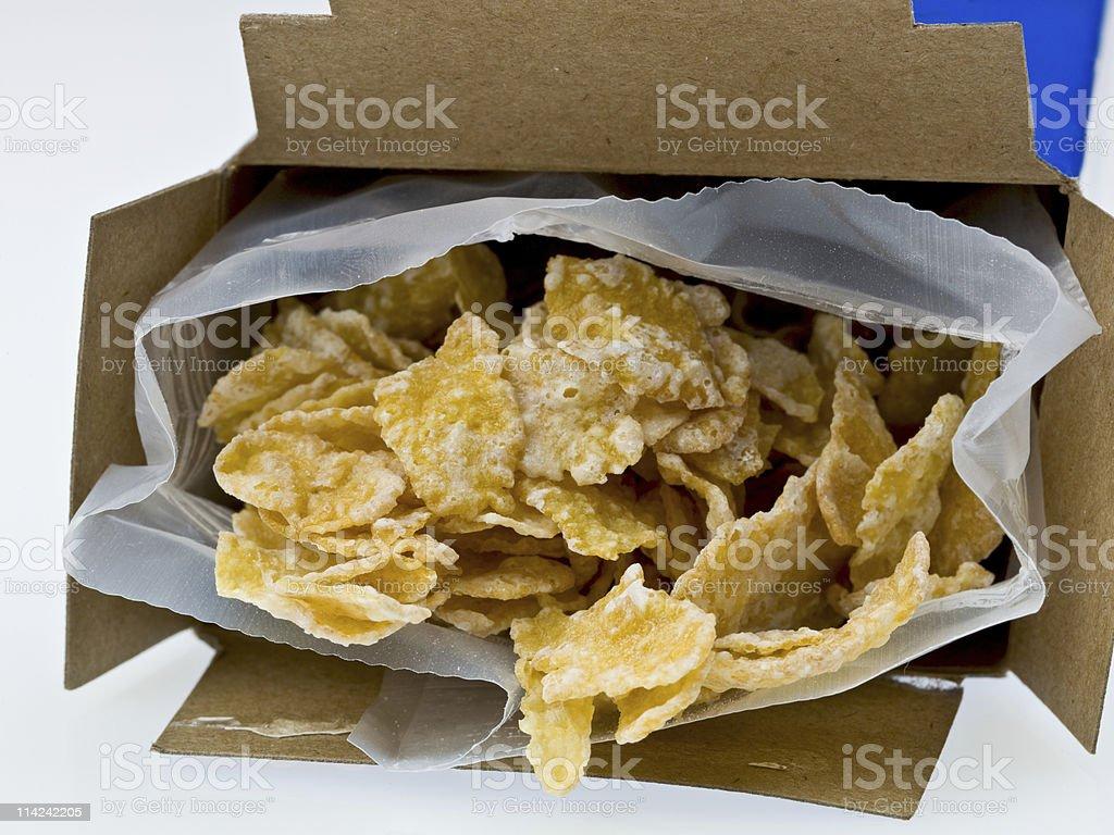 Small box of corn flakes stock photo
