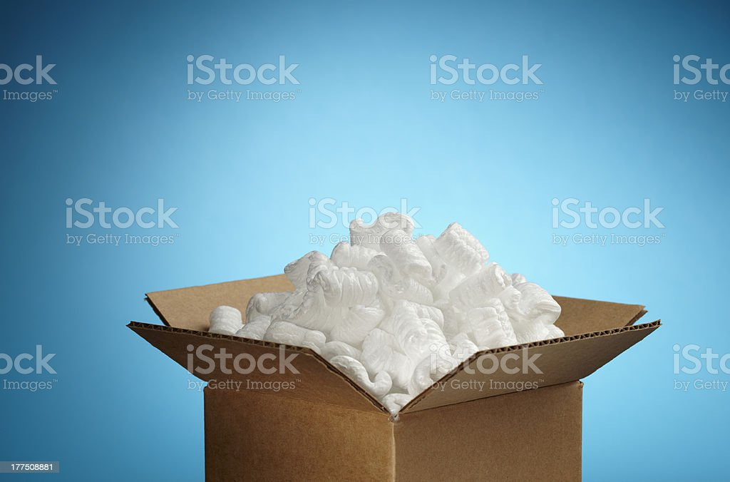 Small box of packing material. stock photo