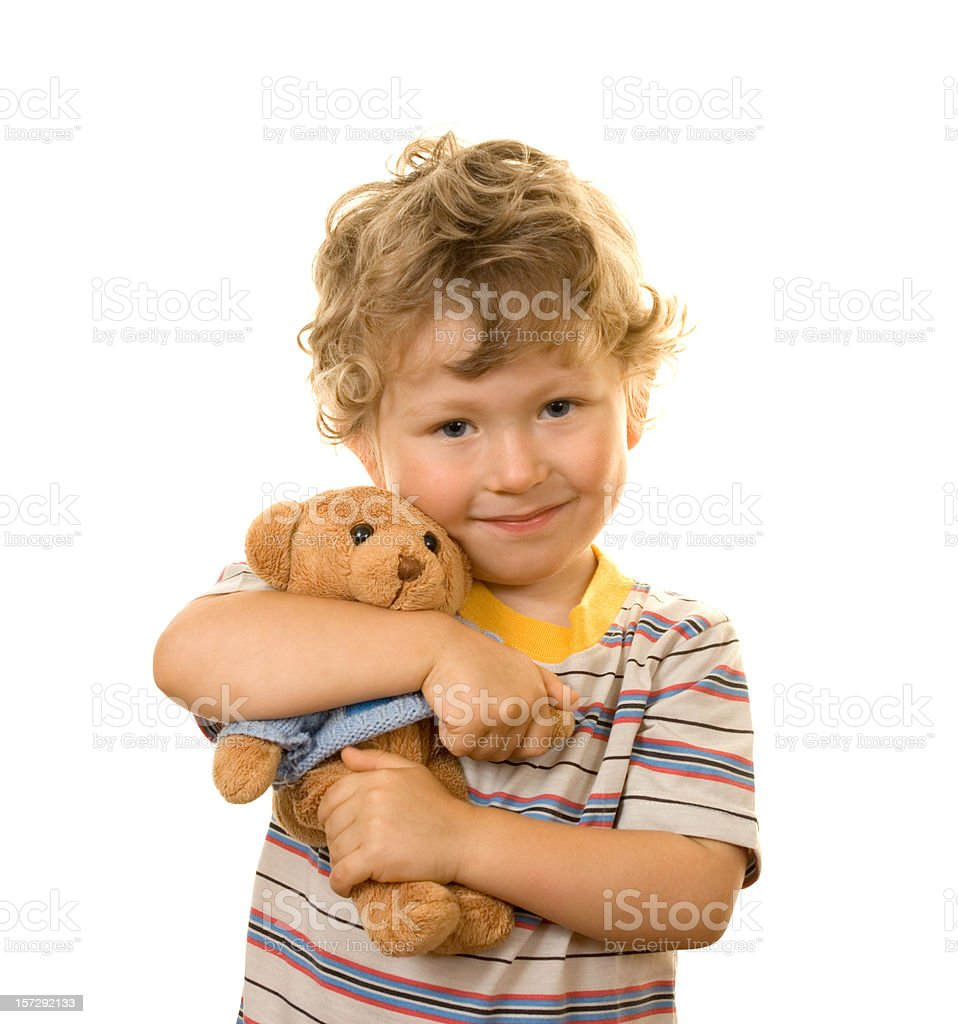 small boy and his teddy bear stock photo