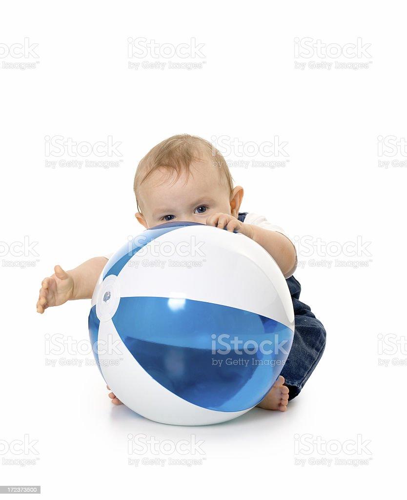 small boy holding big ball royalty-free stock photo