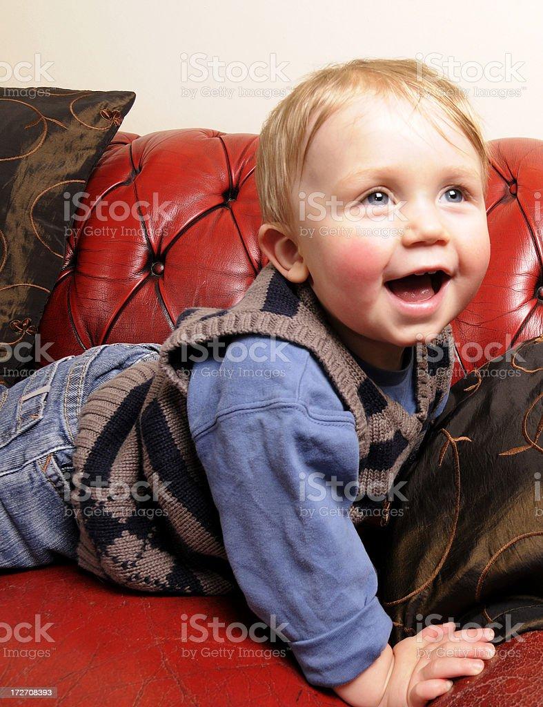 Small Boy on Sofa stock photo