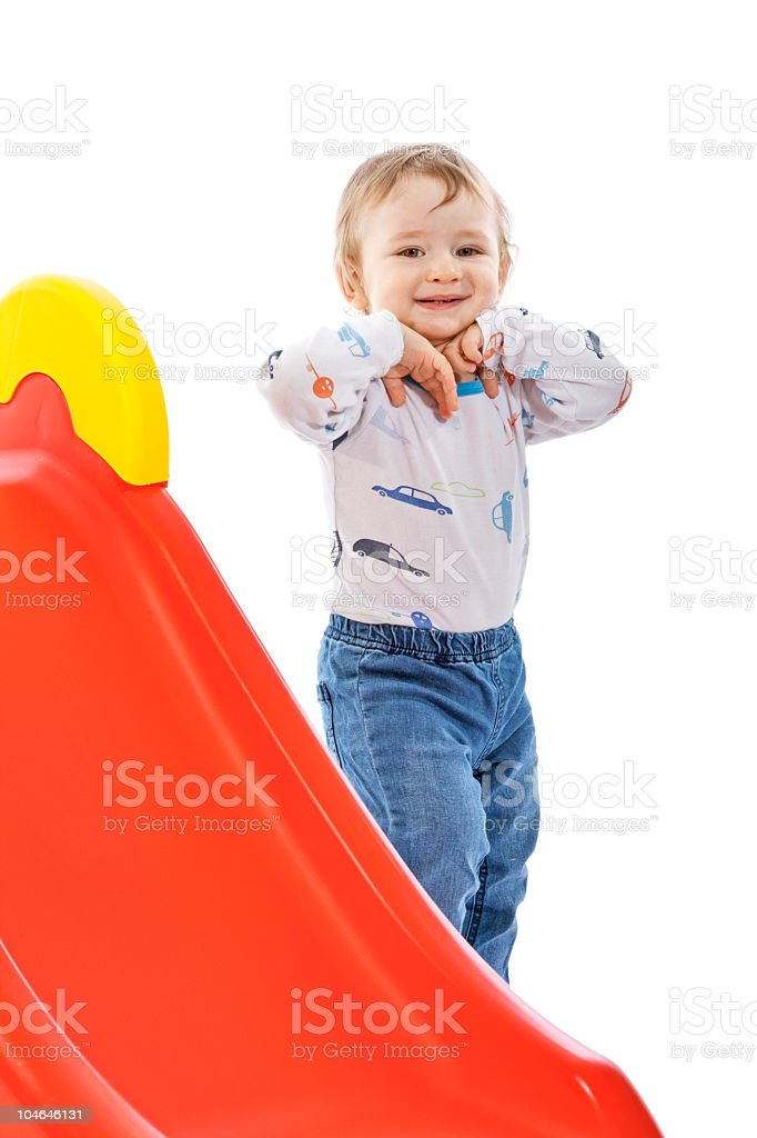 Small boy wallow on slide royalty-free stock photo