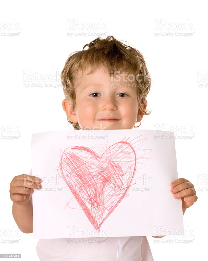 small boy with heart royalty-free stock photo