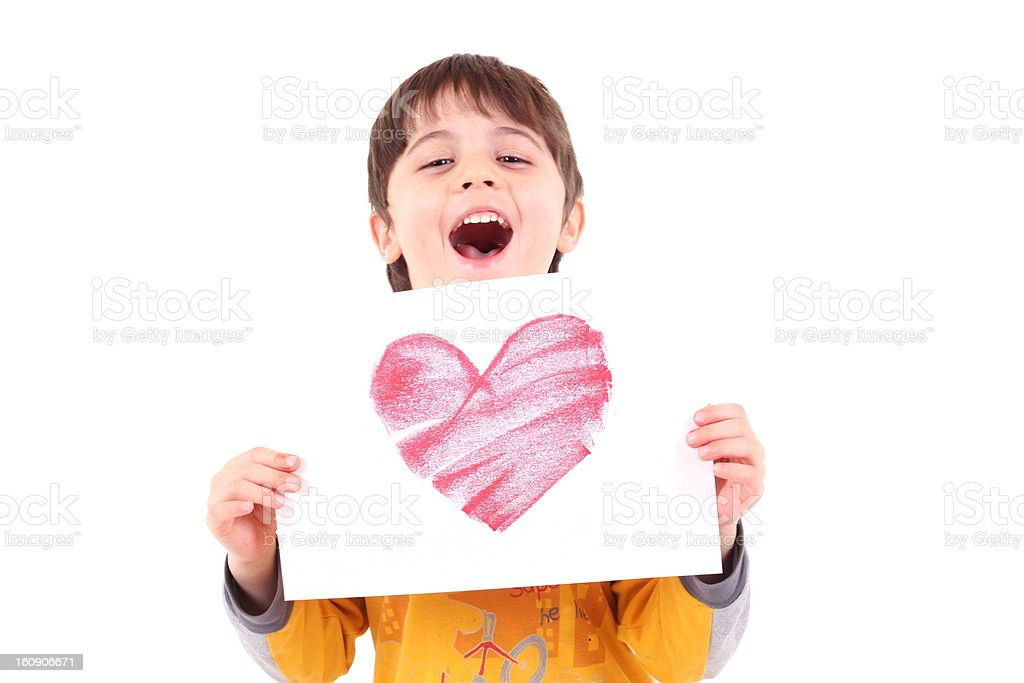 small boy with heart royalty-free stock vector art