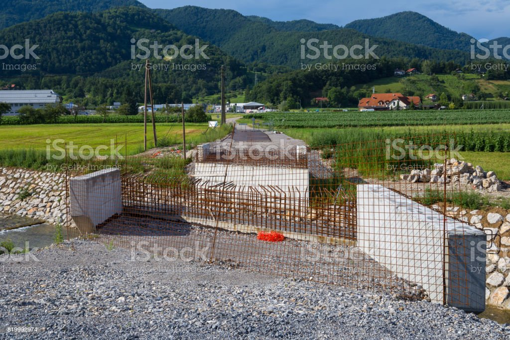 small bridge in work stock photo