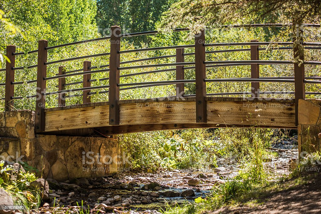 Small bridge with creek in Vail, Colorado stock photo