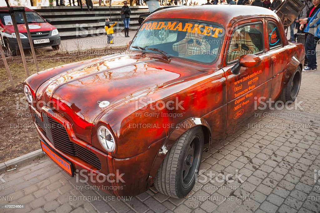 Small bright red Ford Zephyr 1955 car stock photo