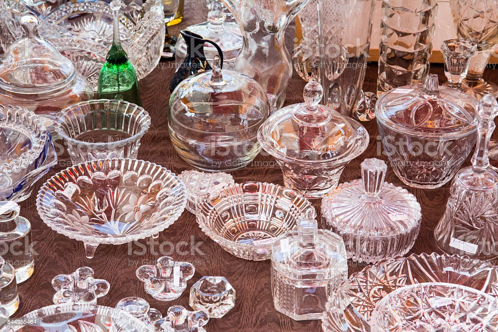 Small brocante  glass bowls and trays stock photo