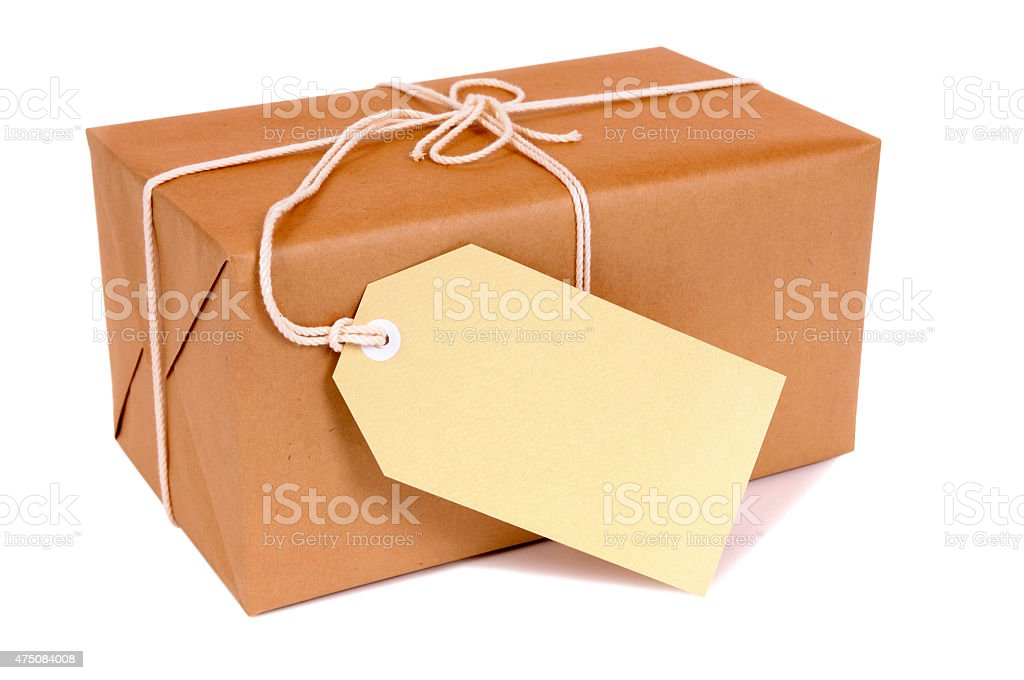 Small brown package with label stock photo