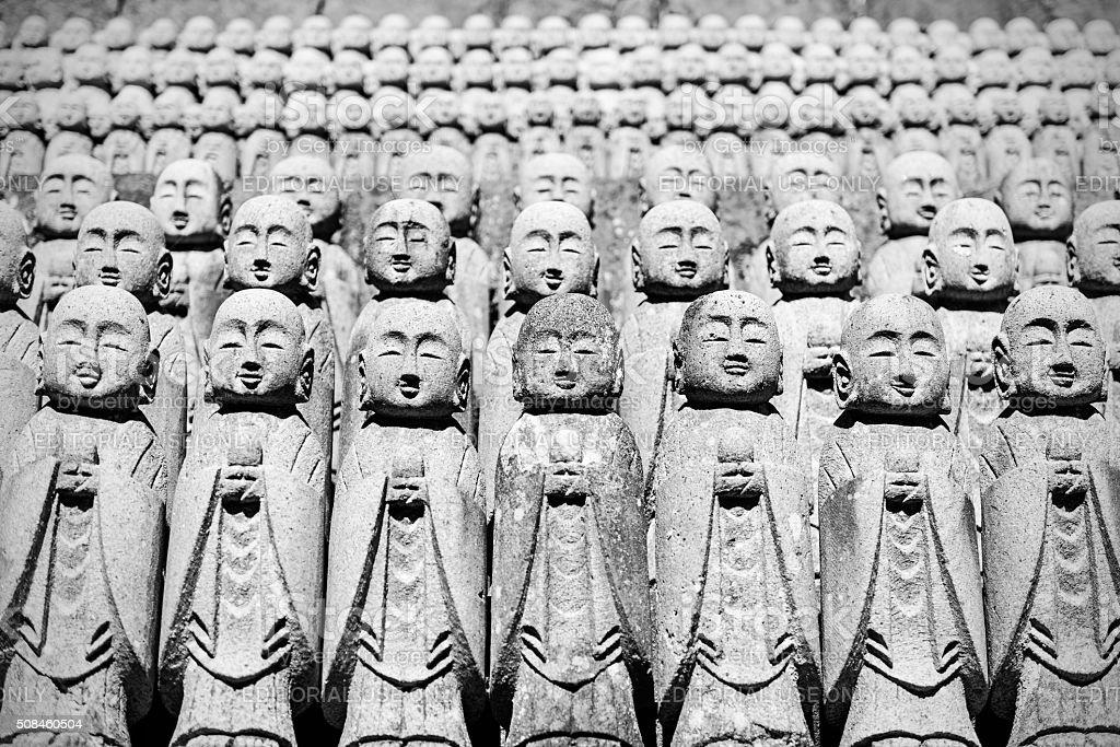 Small Buddhist Jizo statues in Hase-dera temple, Kamakura stock photo