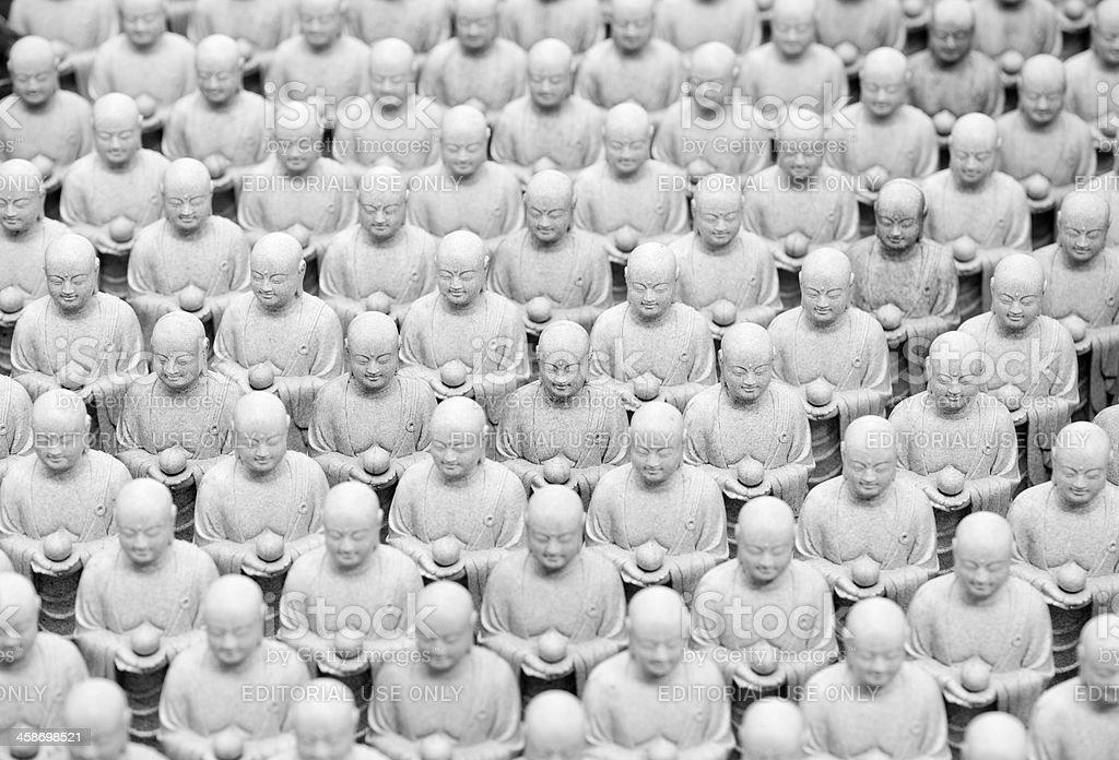 Small Buddhist Jizo statues stock photo