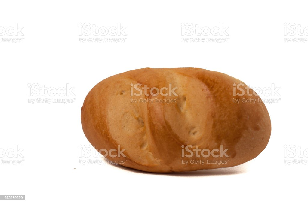 small bun loaf of bread isolated on white background stock photo