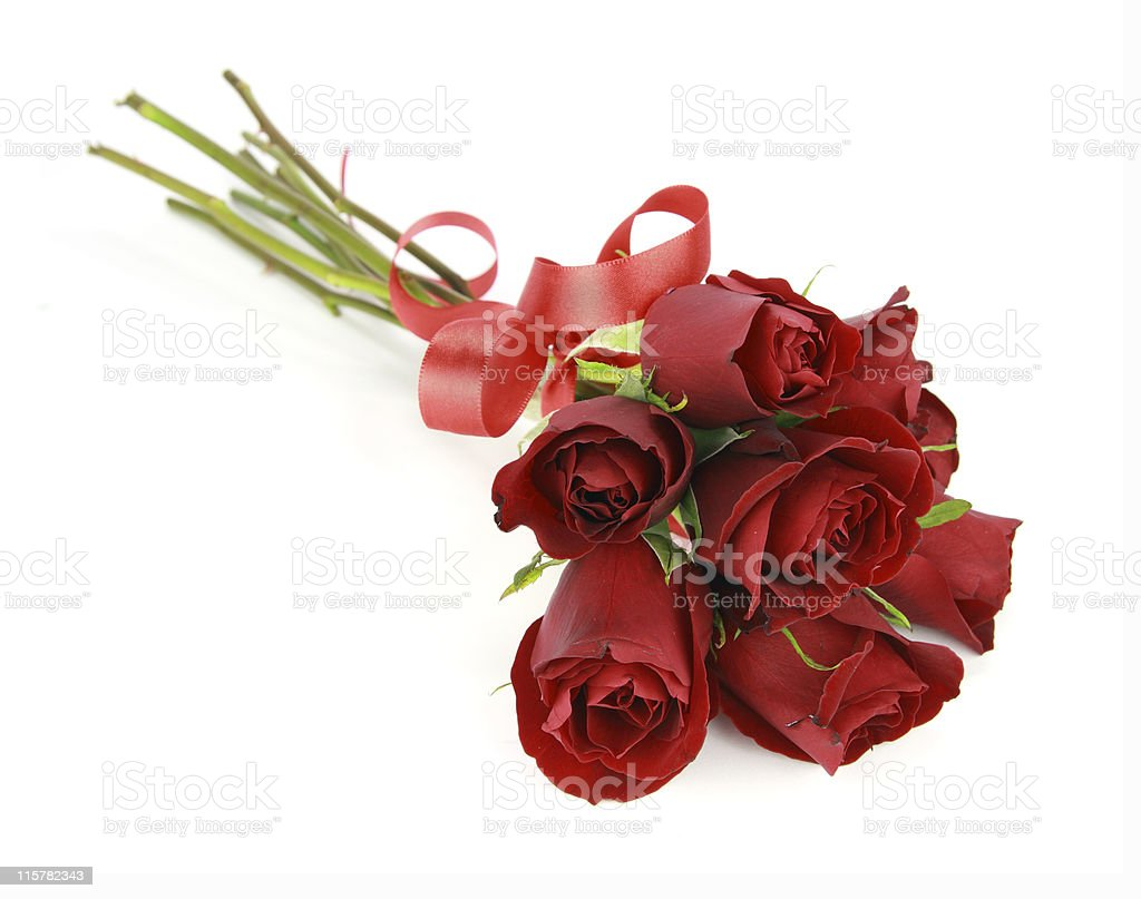 Small bunch of red roses and ribbon isolated on white royalty-free stock photo