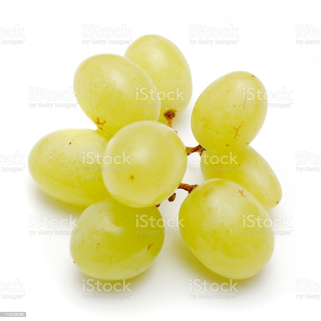 small bunch white grapes isolated royalty-free stock photo