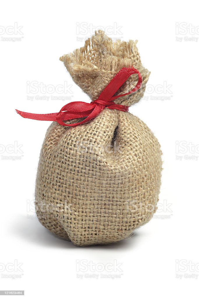 Small burlap  pouch royalty-free stock photo