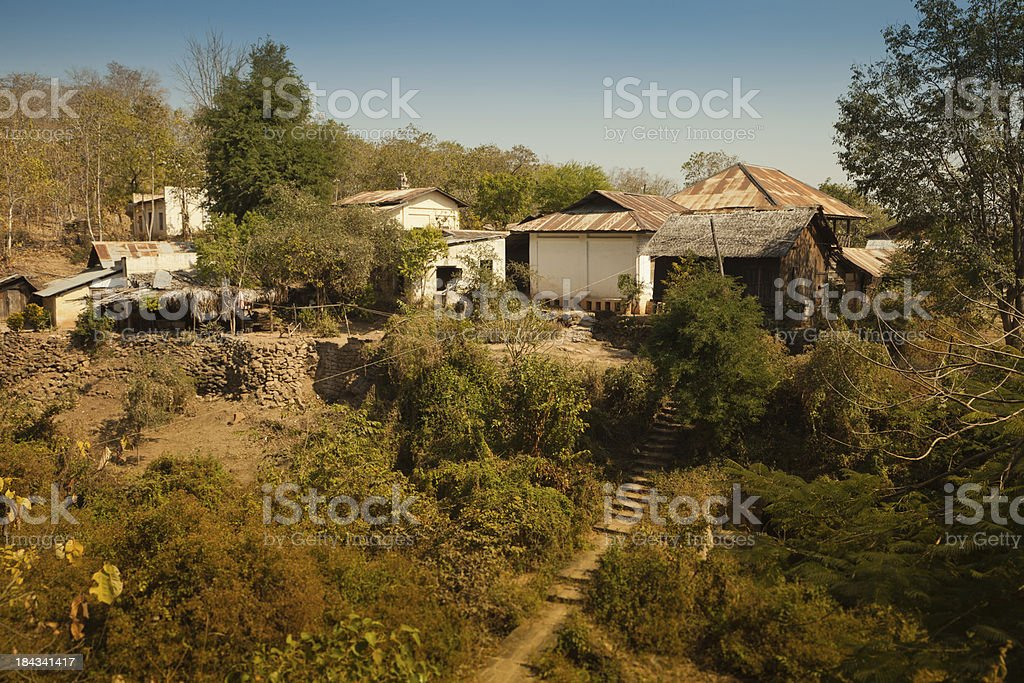 Small Burmese mountain village stock photo