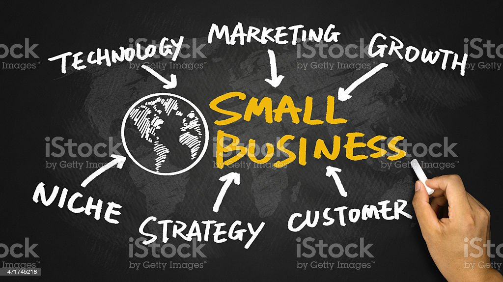 small business concept hand drawing on blackboard stock photo