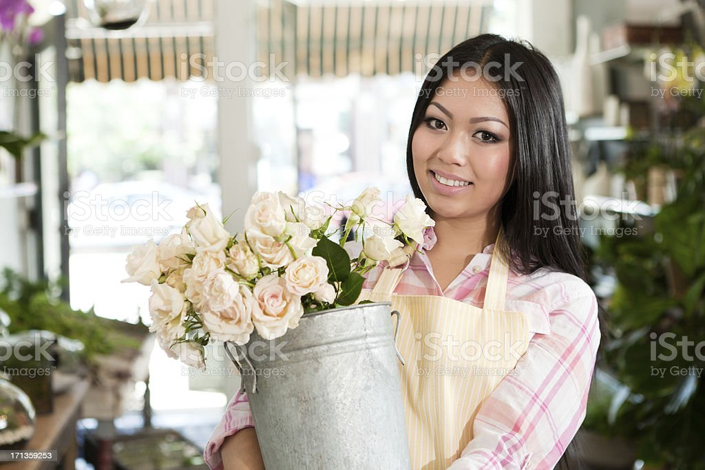 Small Business Entrepreneur Florist Flower Shop Shopkeeper Hz royalty-free stock photo