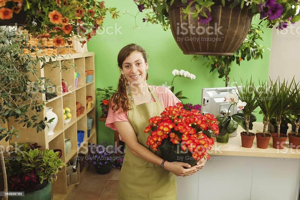 Small Business Entrepreneur Owner Working in Her Flower Shop Hz royalty-free stock photo