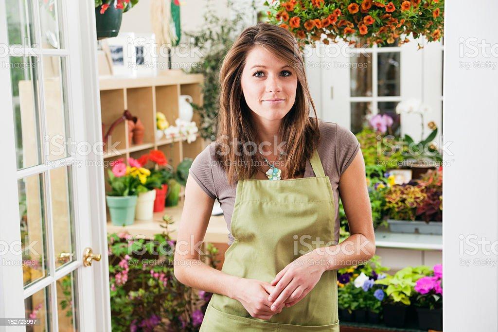 Small Business Garden Center & Flower Shop Entrepreneur Owner Hz royalty-free stock photo