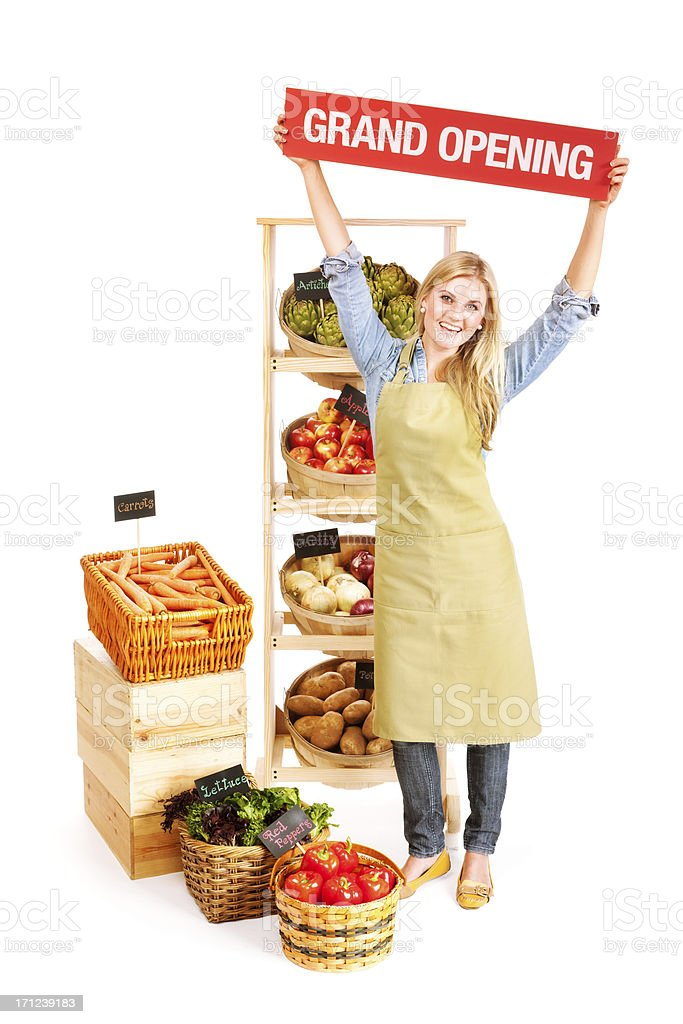 Small Business Grocery Shop Owner Grand Opening on White Background royalty-free stock photo