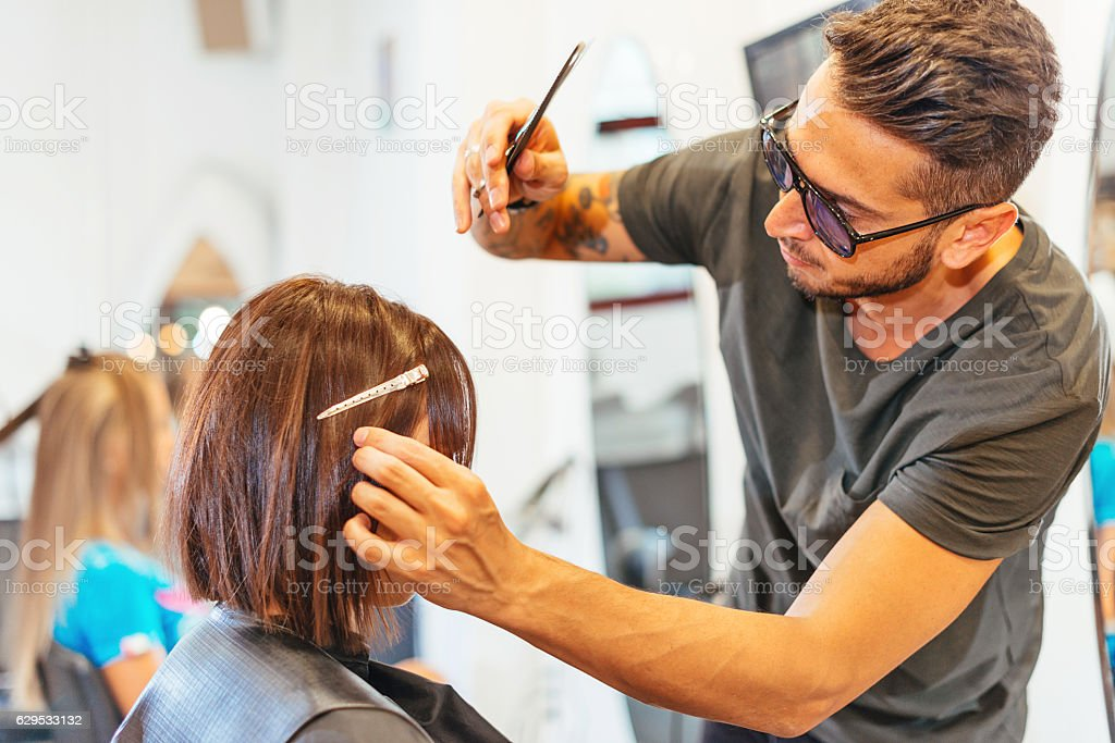 Small business - hair salon for women and men stock photo
