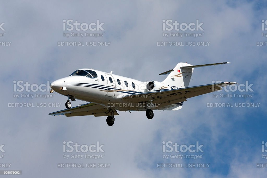 Small Business Jet on finals stock photo