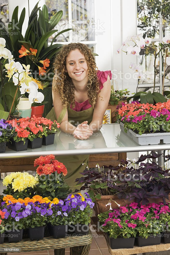 Small Business Owner Entrepreneur - Florist in Retail Flower Shop Retail royalty-free stock photo