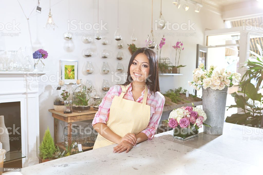 Small Business Owner Florist in Flower Shop Counter Horizontal stock photo