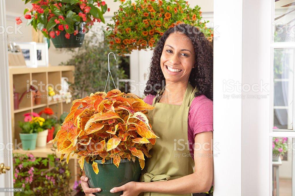 Small Business Owner Florist in Flower Shop Garden Center Store stock photo