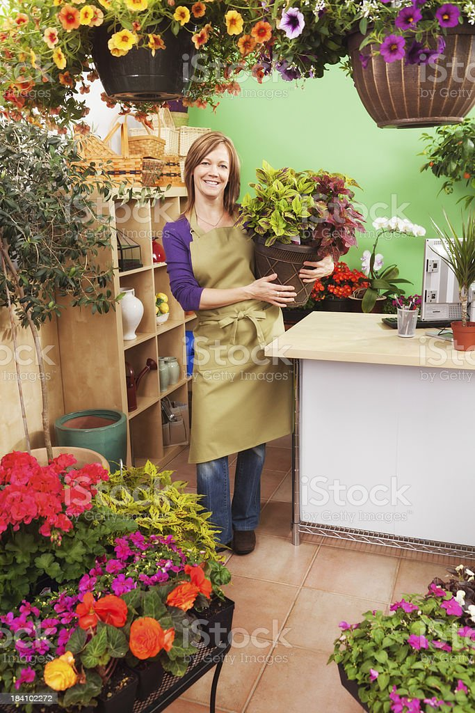 Small Business Owner of Retail Flower Garden Center Portrait Vt royalty-free stock photo