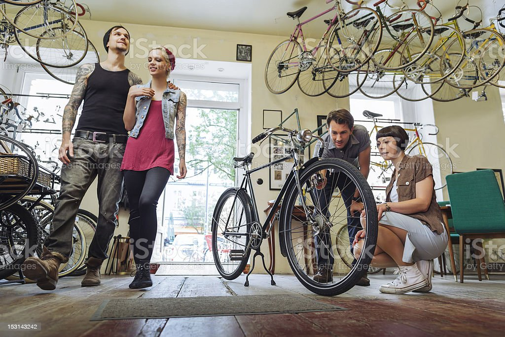 Small business Owner selling  Bicycles stock photo