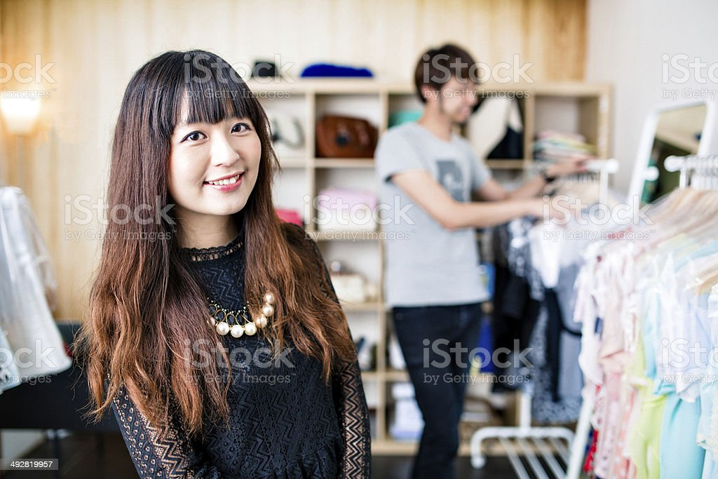 Small business owners. Clothing store stock photo