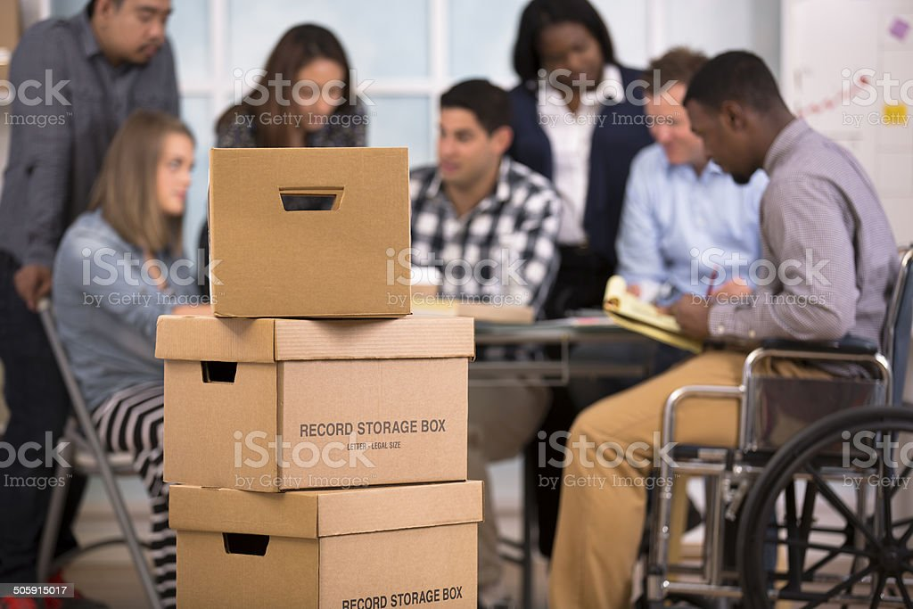 Small business, start up. Creative young adult co-workers collaborate together. royalty-free stock photo