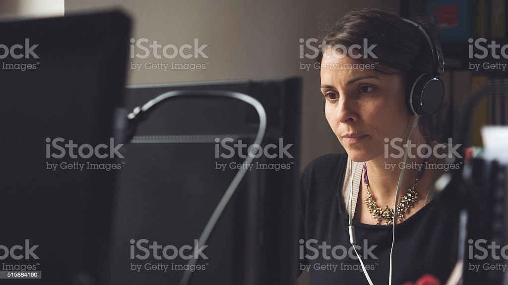 Small business start up: tired woman at work stock photo