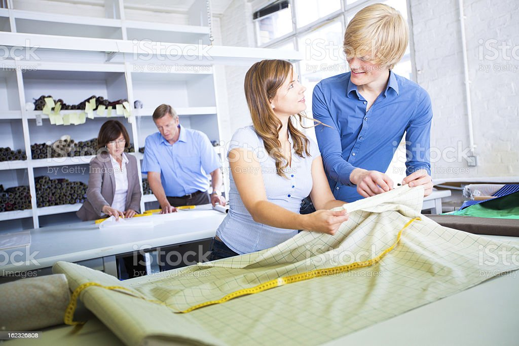 Small business - textile industry trainees royalty-free stock photo