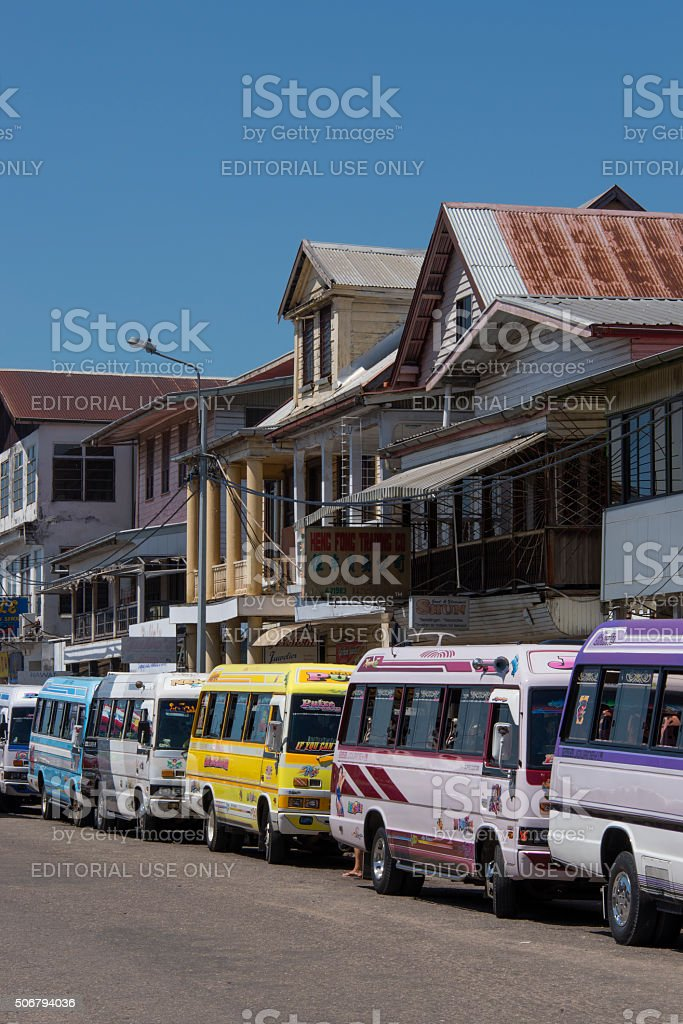 Small busses for public transportation in  Paramaribo stock photo