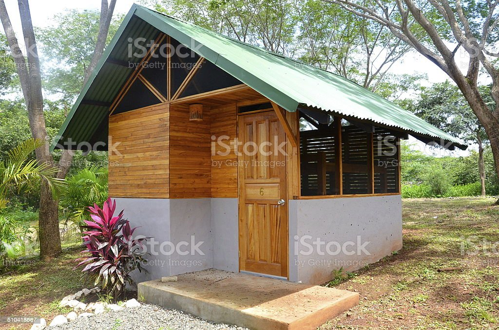 Small cabin at a tropical retreat stock photo