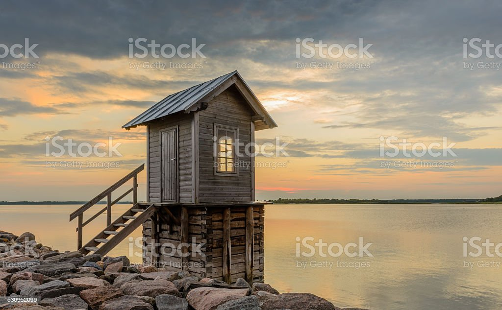Small Cabin by the sea stock photo