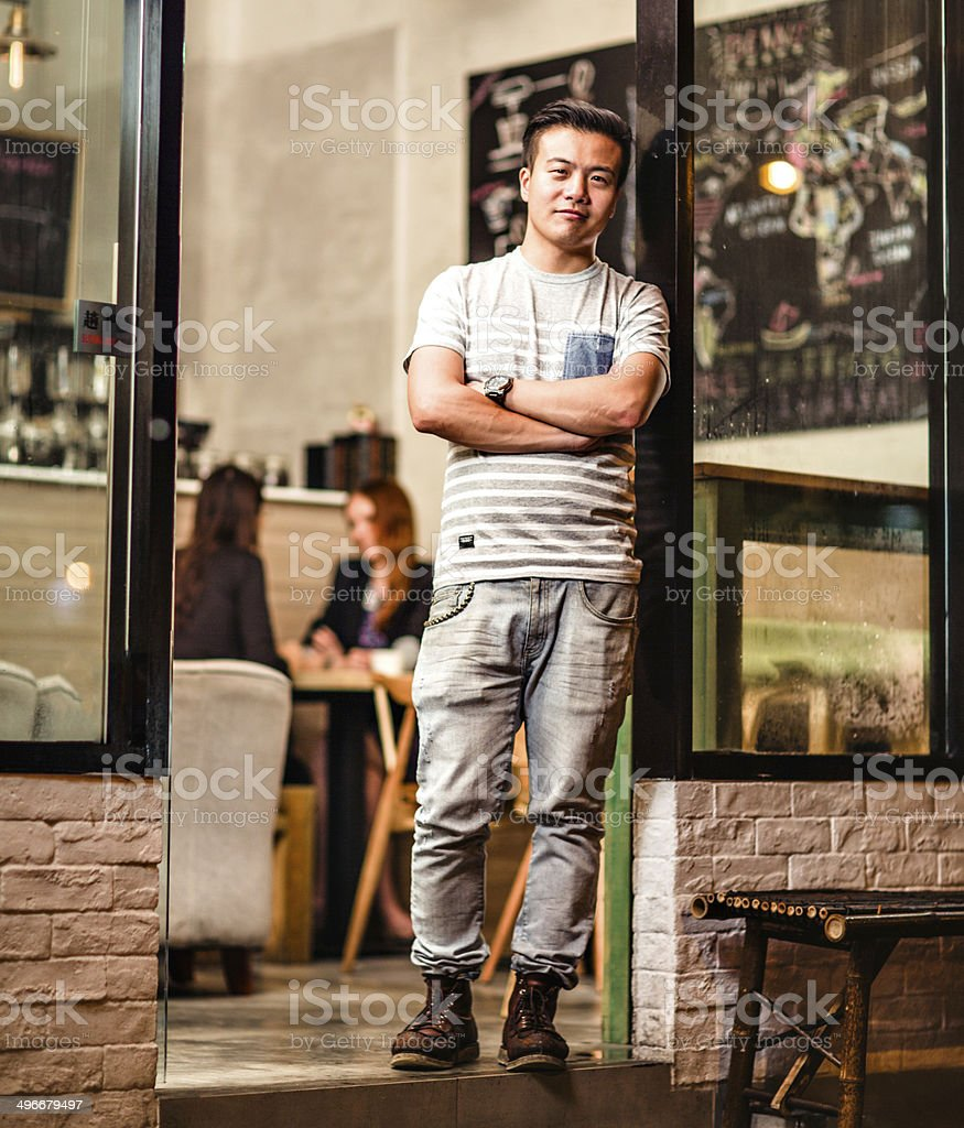 Small cafe business owner in Hong Kong royalty-free stock photo